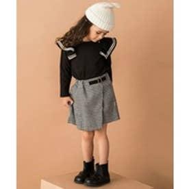 petit main ライン入りフリルつきTシャツ(ブラック)【返品不可商品】
