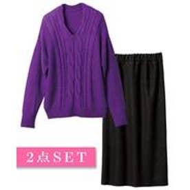Ranan 選べる!スカートスタイルセットアップ(パープル×ブラック(Vネック))