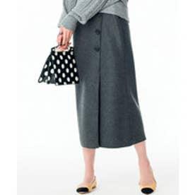 Ranan ボタン使いタイトスカート(チャコール)