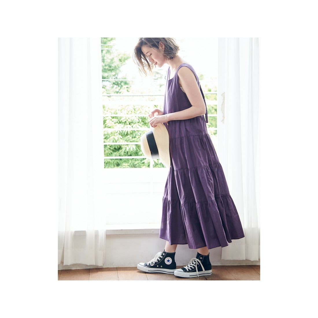 f3fa512163ea3 ROPE  PICNIC  WEB限定 バックレースアップティアードワンピース(パープル(50)) 返品不可商品  -靴&ファッション通販 ロコンド〜 自宅で試着、気軽に返品