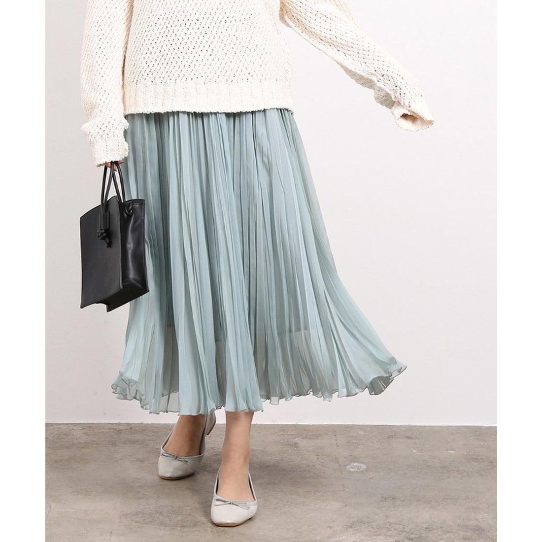 ロコンド 靴とファッションの通販サイトROPE' mademoiselle 【新色】シフォンジーランダムプリーツスカート(モスグリーン(32))【返品不可商品】