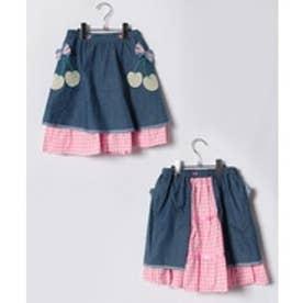 ShirleyTemple エプロン付きスカート(150〜160cm)(ブルー)【返品不可商品】