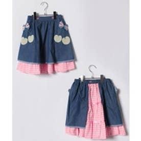 ShirleyTemple エプロン付きスカート(140cm)(ブルー)【返品不可商品】