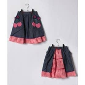 ShirleyTemple エプロン付きスカート(140cm)(紺)【返品不可商品】