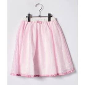 ShirleyTemple ドット柄スカート(140cm)(ピンク)【返品不可商品】