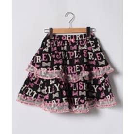ShirleyTemple ロゴボーダーptスカート(150~160cm)(黒)【返品不可商品】