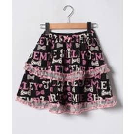 ShirleyTemple ロゴボーダーptスカート(140cm)(黒)【返品不可商品】
