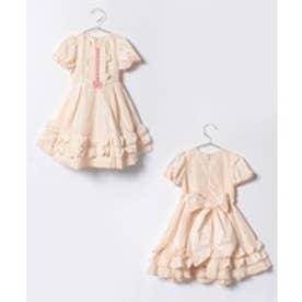 ShirleyTemple タフタドレス(100~120cm)(ベージュ)【返品不可商品】