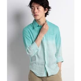 SPENDY'S Store 麻100%グラデーション7分袖シャツ(グリーン)【返品不可商品】