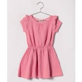 TINKERBELL 女アイレット接結ボーダーワンピース(80〜120cm)(ピンク)【返品不可商品】