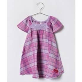 TINKERBELL 女楊柳チェックワンピース(80〜120cm)(ピンク)【返品不可商品】