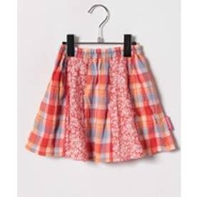 TINKERBELL 女 花×チェック スカート(90〜120cm)(オレンジ系)【返品不可商品】
