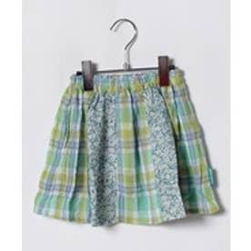 TINKERBELL 女 花×チェック スカート(90〜120cm)(グリーン系)【返品不可商品】