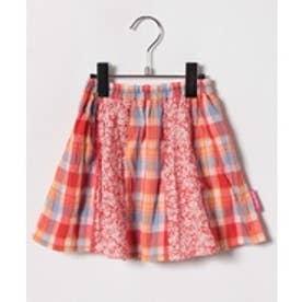 TINKERBELL 女 花×チェック スカート(130〜140cm)(オレンジ系)【返品不可商品】