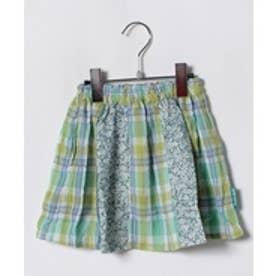 TINKERBELL 女 花×チェック スカート(130〜140cm)(グリーン系)【返品不可商品】
