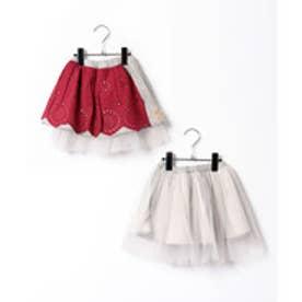 TINKERBELL 女児 リバーシブルスカート(90〜120cm)(杢グレー)【返品不可商品】