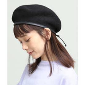 ViS 合皮パイピングフェルトベレー帽(ブラック(01))