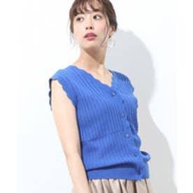 ViS 【前後2WAY】すかし編みノースリーブ(ネイビー(40))【返品不可商品】