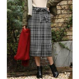 ViS 【WEB限定】チェックジャガードリボンツキタイトスカート(グレー系(09))