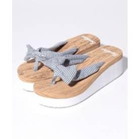 VacaSta Swimwear(Kids) BENETTON 木目調厚底サンダル(ネイビー)【返品不可商品】