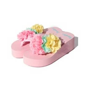 VacaSta Swimwear(Kids) BENETTONふわふわフラワー付き厚底サンダル(ピンク)【返品不可商品】