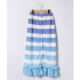 VacaSta Swimwear(Kids) BENETTON裾フリルボーダーマイクロファイバー巻きタオル(ブルー)【返品不可商品】