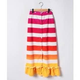 VacaSta Swimwear(Kids) BENETTON裾フリルボーダーマイクロファイバー巻きタオル(ピンク)【返品不可商品】