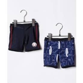VacaSta Swimwear(Kids) California Shore セミロング丈海パン(リバーシブル)(ネイビー)【返品不可商品】