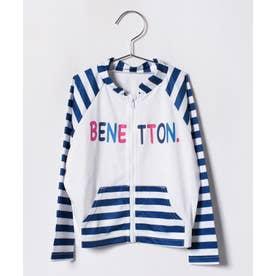 VacaSta Swimwear(Kids) BENETTON女児UVボーダーウェア(ネイビー)【返品不可商品】