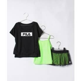 VacaSta Swimwear(Kids) FILAタンキニ(スカパンインナーボックスパンツタイプ)3点SET(ブラック)【返品不可商品】