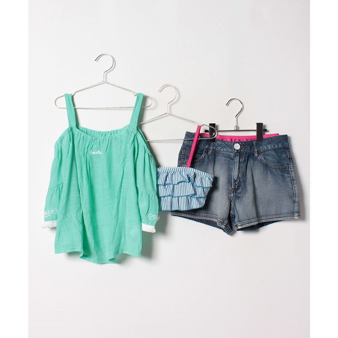 VacaSta Swimwear(Kids) BENETTONオフショルダーデザイン4点セット(ミント)【返品不可商品】