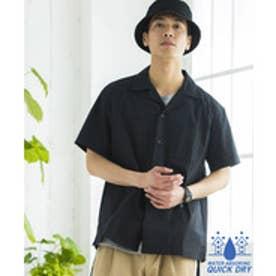 WEGO ドライストレッチオープンカラーシャツ(ブラック)【返品不可商品】