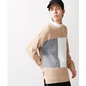 WEGO カラースイッチングセーター(ベージュ)【返品不可商品】