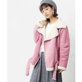 WEGO フェイクムートンライダースジャケット(ピンク)【返品不可商品】