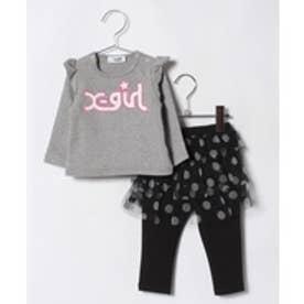 X-girl Stages ロゴ起毛Tシャツ×チュールドットスカッツセット(トップグレー)【返品不可商品】