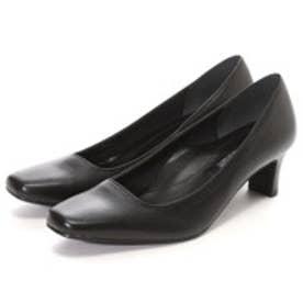 マミアン MAMIAN 美脚フォーマルパンプス:足が痛くない(なりにくい)5cmヒール スクエアトゥパンプス/日本製:ブラックスムース/【 iCoN 】BASIC スクエアトゥ (355)(ブラック)