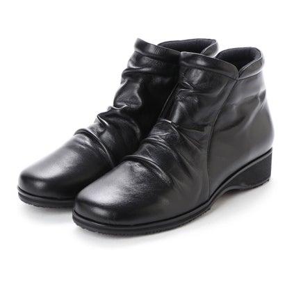 アトリエ Atelier 【4E】ドレープショートブーツ (ブラック)