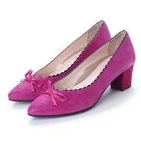 マリー ファム Marie femme 【スポンジ入り】スカラップリボンポインテッドパンプス (ピンク)