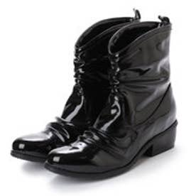 パラーレ parare 【レイン対応】ドレープショートブーツ(ブラックエナメル)