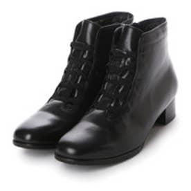 リズ コンフォート Riz Comfort ゴムレースショートブーツ (ブラック)