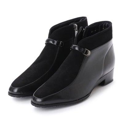 リズ コンフォート Riz Comfort ベルトモチーフ切替ショートブーツ (ブラックコンビ)