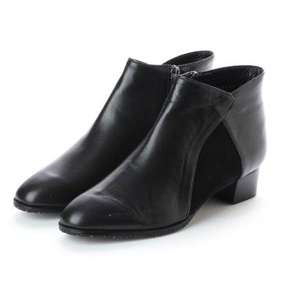 リズ コンフォート Riz Comfort 【3E】サイドコンビレザーショートブーツ (ブラック)