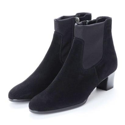 リズ コンフォート Riz Comfort 【3E】ストレッチコンビショートブーツ (ブラック)