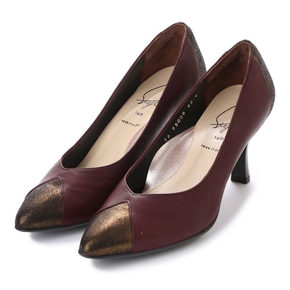 ロコンド 靴とファッションの通販サイトスタイルラボ STYLE lab Vカットポインテッドトゥパンプス (ワイン)