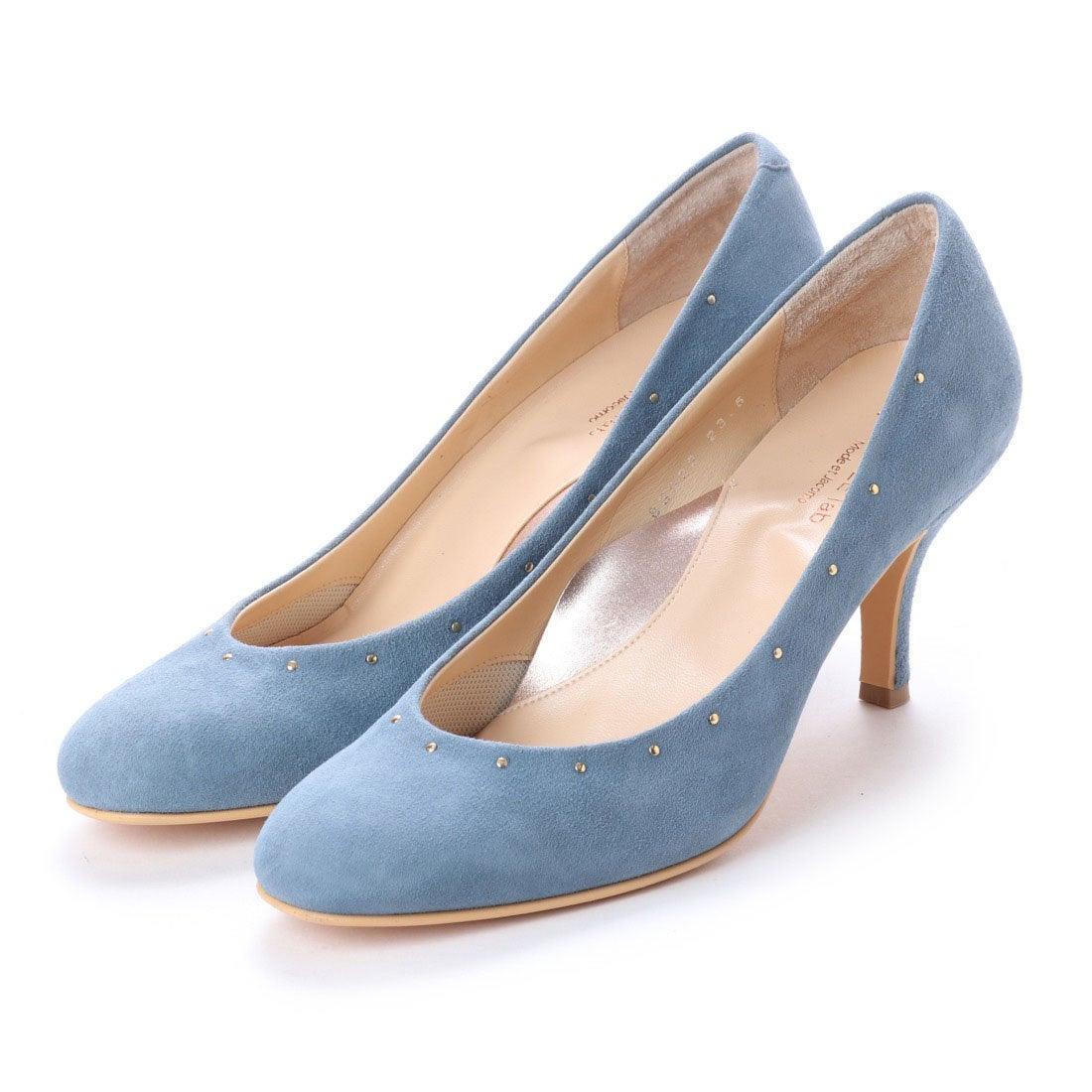 ロコンド 靴とファッションの通販サイトスタイルラボ STYLE lab 【クッション入り】スタッズラウンドトゥパンプス (ブルースエード)