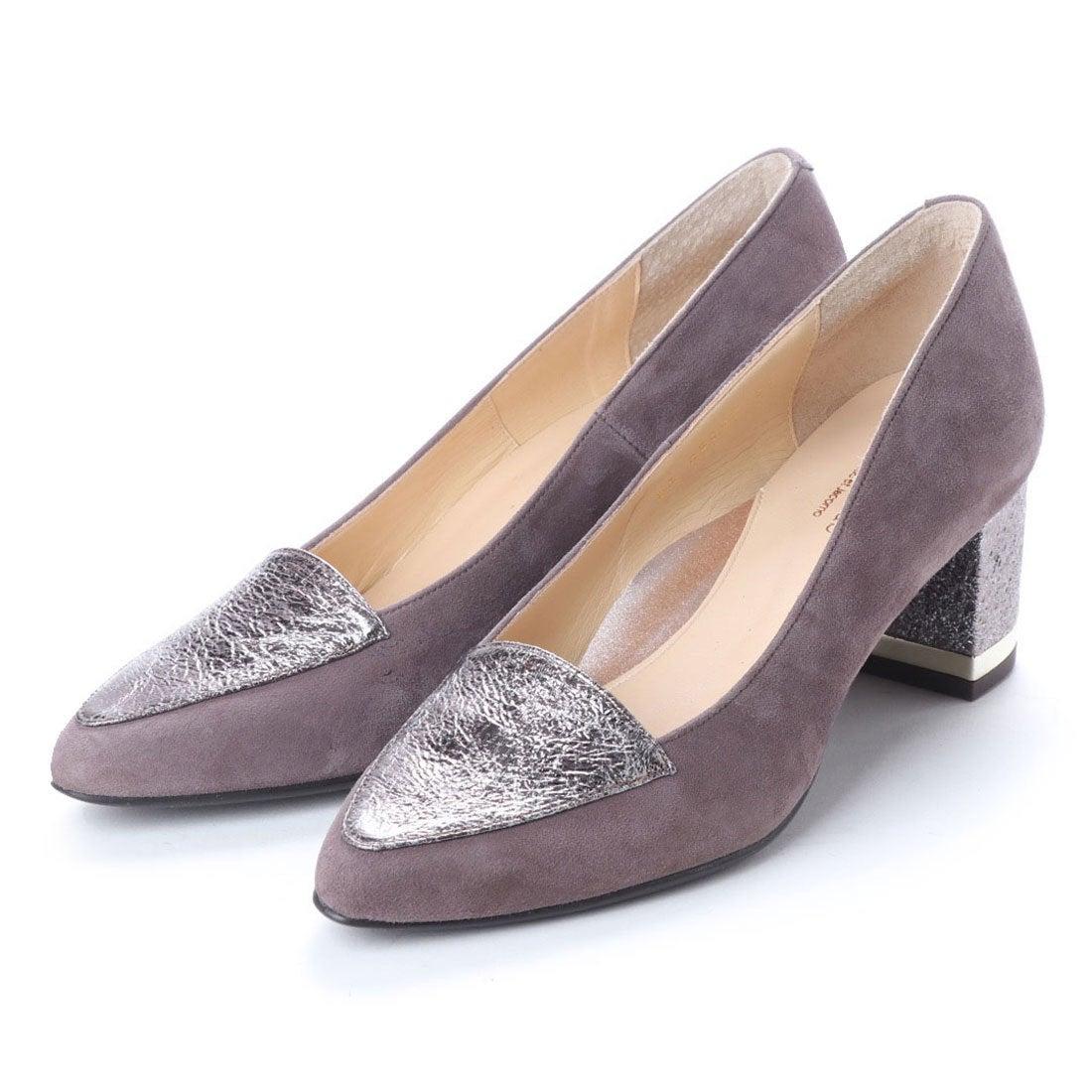 ロコンド 靴とファッションの通販サイトスタイルラボ STYLE lab 【高機能】チャンキーヒールポインテッドトゥパンプス (グレーコンビ)