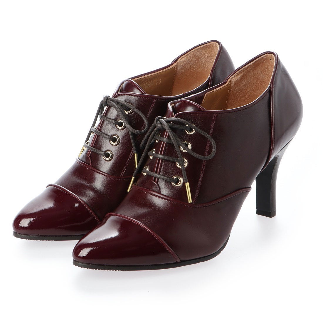 ロコンド 靴とファッションの通販サイトスタイルラボ STYLE lab 【高機能】レースアップポインテッドトゥパンプス (ワイン)
