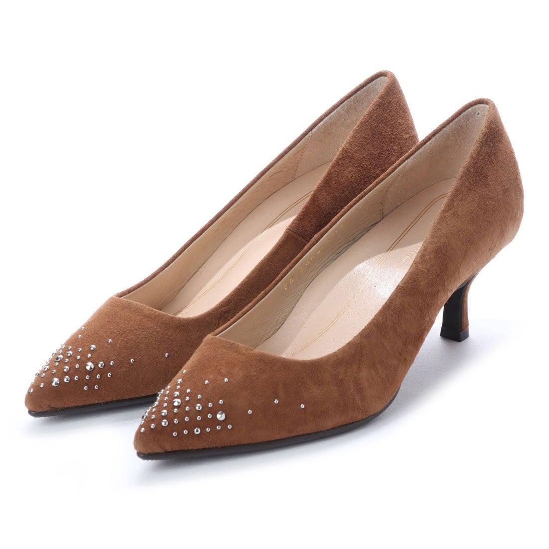 ロコンド 靴とファッションの通販サイトスタイルラボ STYLE lab 【高機能】スタッズキトゥンヒールパンプス (ブラウンスエード)