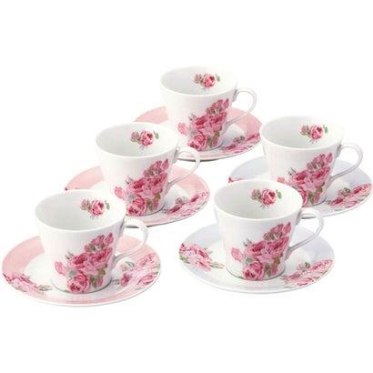 ローラ アシュレイ クチュールローズ コーヒー碗皿5客セット