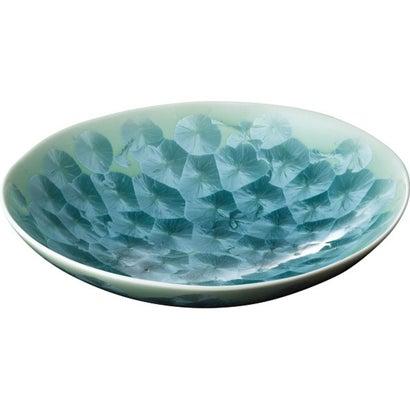 清水焼 花結晶(緑) 楕円鉢